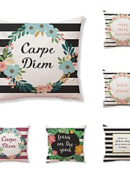 cheap -6 pcs Textile Cotton/Linen Modern/Contemporary Pillow case Pillow Cover, Art Deco Special Design Quotes & Sayings Artistic Style High