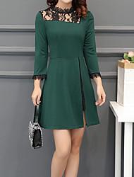 cheap -Women's Work A Line Sheath Dress - Color Block, Lace Cut Out Split