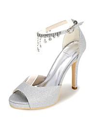 cheap -Women's Shoes Sparkling Glitter Spring / Summer Basic Pump Wedding Shoes Stiletto Heel Open Toe Rhinestone Silver / Red / Blue