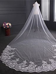 cheap -One-tier Vintage Style Wedding Veil Cathedral Veils 53 Paillette Tulle