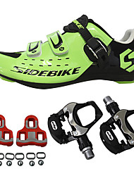 cheap -SIDEBIKE Adults' Cycling Shoes With Pedals & Cleats / Road Bike Shoes Carbon Fiber Adjustable, Anti-Shake / Damping, Cushioning Cycling Black / Red / Green Men's