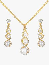 cheap -Women's Rhinestone Imitation Pearl Jewelry Set 1 Necklace Earrings - Fashion European Gourd Jewelry Set For Causal