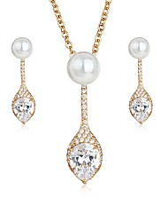 baratos -Mulheres Imitação de Pérola / Pérola Pérola / Zircão Caído Conjunto de jóias 1 Colar / Brincos - Elegant / Doce Dourado / Prata Brincos