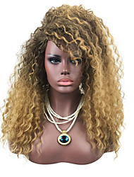 cheap -Synthetic Wig Kinky Curly / Jerry Curl With Bangs Synthetic Hair Ombre Hair / African American Wig Black / Brown Wig Cosplay Wig /