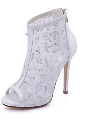 Mulheres Sapatos Paetês Primavera Verão Plataforma Básica Sapatos De Casamento Salto Agulha Peep Toe para Casamento Festas & Noite Branco