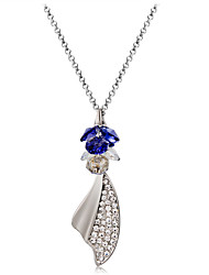 cheap -Women's Crystal Cubic Zirconia Crystal Zircon Silver Plated Pendant Necklace - Classic Fashion Wings / Feather Necklace For Ceremony