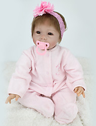 cheap -NPK DOLL Reborn Doll Baby Girl 22inch Silicone / Vinyl - lifelike, Hand Applied Eyelashes, Tipped and Sealed Nails Unisex Kid's Gift