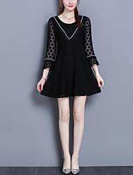 cheap -Women's Plus Size Flare Sleeve Slim Little Black Dress - Solid Color, Lace Mesh