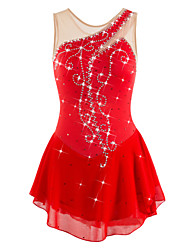 cheap -Figure Skating Dress Women's Girls' Ice Skating Dress Red Rhinestone Sequin High Elasticity Performance Practise Leisure Sports Skating