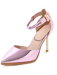 preiswerte -Damen Schuhe Paillette PU Lackleder Frühling Sommer Pumps Hochzeit Schuhe Stöckelabsatz Spitze Zehe Schnalle für Hochzeit Party &