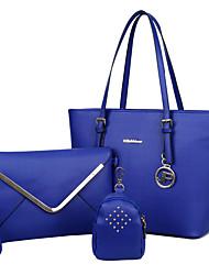 baratos -Mulheres Bolsas Couro Ecológico Conjuntos de saco 3 Pcs Purse Set Ziper para Compras Casual Todas as Estações Azul Branco Preto Vermelho