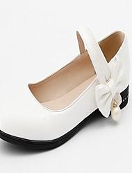 abordables -Femme Chaussures Similicuir Printemps / Automne Confort / Nouveauté Ballerines Talon Plat Bout rond Noeud Blanc / Noir / Rose