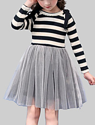 cheap -Girl's Daily Going out Striped Patchwork Dress, Rayon Polyester Spring Fall Long Sleeves Casual Gray