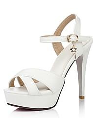 baratos -Mulheres Sapatos Courino Primavera / Verão Chanel Sandálias Salto Agulha Peep Toe Preto / Azul / Rosa claro / Festas & Noite