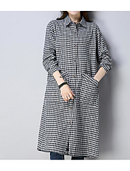 cheap -Women's Flare Sleeve Cotton Loose Dress - Solid Colored Pleated / Spring