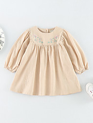 cheap -Baby Girls' Daily Solid Blouse, Cotton Spring Summer Simple Casual Long Sleeves White Beige