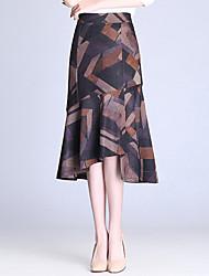Žene Sirena kroj Suknje - Color block, Drapirano