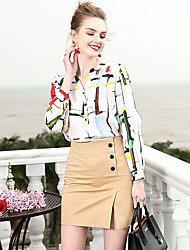 economico -Camicia Per donna Lavoro Con stampe,Fantasia geometrica