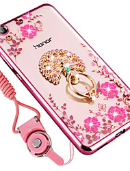 cheap -Case For Huawei Enjoy 5A Shockproof Rhinestone Ring Holder Back Cover Flower Soft Silicone for Enjoy 5A