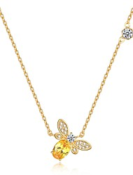 cheap -Women's Cubic Zirconia Pendant Necklace - Zircon Bee Dainty, Vintage, Fashion Gold Necklace For Gift, Daily