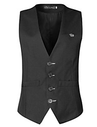 cheap -Men's Work Casual Cotton Vest - Solid Colored Stand / Sleeveless