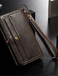 Недорогие -Кейс для Назначение Apple iPhone X / iPhone 8 Pluss / iPhone 8 Кошелек / Бумажник для карт / Флип Чехол Однотонный Твердый Настоящая кожа