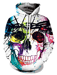 cheap -Men's Long Sleeves Loose Hoodie - Skull Hooded