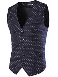 cheap -Men's Casual Cotton Vest - Solid Colored Shirt Collar