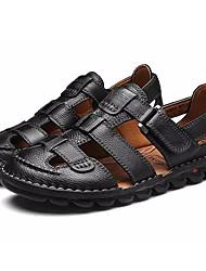 preiswerte -Herrn Schuhe Leder Sommer Komfort Sandalen Schnalle für Normal Schwarz Dunkelbraun