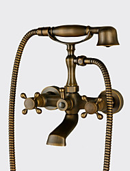 cheap -Antique Country Traditional Wall Mounted Handshower Included Widespread Ceramic Valve Two Holes Three Handles Two Holes Antique Copper,