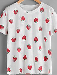 baratos -Mulheres Camiseta Diário Simples Verão, Geométrica Poliéster Decote Redondo Manga Curta