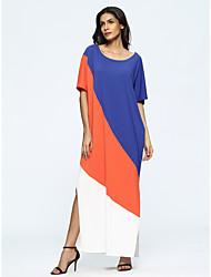 Недорогие -Жен. На каждый день Свободный силуэт Платье - Контрастных цветов, Классический Макси