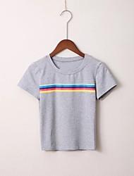 preiswerte -Damen Solide Gestreift-Grundlegend T-shirt