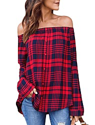 cheap -Women's Going out Holiday Street chic Cotton Shirt - Plaid Off Shoulder