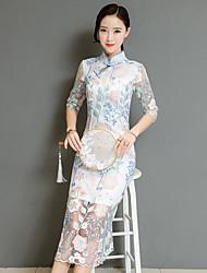 baratos -Mulheres Temática Asiática Reto Vestido Floral Médio