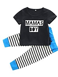 cheap -Baby Boys' Daily Striped Clothing Set, Cotton Summer Simple Short Sleeves Black 90 80 95 70