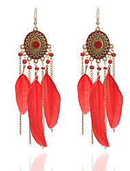 cheap -Women's Tassel Synthetic Tanzanite Drop Earrings - Tassel Fashion White Black Red Circle Line Feather Earrings For Going out Holiday