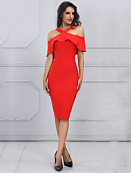 cheap -Women's Sophisticated Street chic Skinny Bodycon Dress - Solid Colored, Ruffle High Waist Off Shoulder