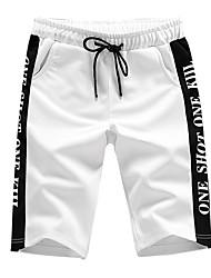 cheap -Men's Street chic Plus Size Cotton Slim Chinos / Shorts Pants - Letter Print / Sports