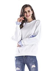 preiswerte -Frauen täglichen Urlaub einfach gestreiften Rundhals Sweatshirt kurz, lange Ärmel Frühling Baumwolle Polyester