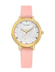 Недорогие -Жен. Модные часы Китайский Кварцевый Повседневные часы Кожа Группа минималист Мода Черный Белый Синий Красный Коричневый Серый Розовый