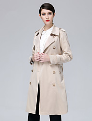 cheap -Women's Basic Trench Coat-Solid Colored
