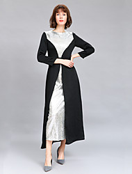cheap -Women's Plus Size Going out Basic Sophisticated Puff Sleeve Slim Loose Sheath Swing Dress - Color Block Sequins Ruffle Patchwork High