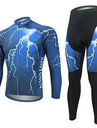 povoljno -WEST BIKING® Muškarci Dugih rukava Biciklistička majica s tajicama - Plava Bicikl Biciklistička majica Kompleti odjeće, Pad 3D, Quick