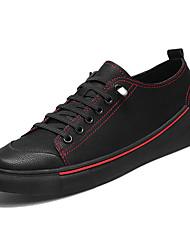 Недорогие -Муж. обувь Искусственное волокно Весна Осень Удобная обувь Кеды для Повседневные Черный Черный/Красный