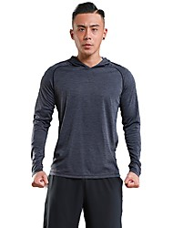 cheap -Men's Running T-Shirt Long Sleeve Breathability Hoodie / T-shirt for Exercise & Fitness / Leisure Sports Polyester Red / Green / Grey L /