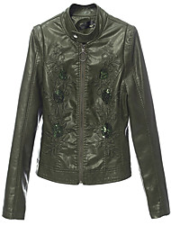 cheap -Women's Leather Jacket - Solid Colored, Sequins Shirt Collar Stand