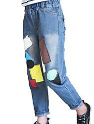 Недорогие -Девочки Джинсы Повседневные Хлопок Полиэстер Однотонный Геометрический принт Весна Осень Без рукавов Простой На каждый день Синий