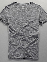 abordables -Hombre Algodón Camiseta, Escote Redondo Un Color
