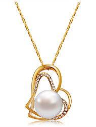cheap -Women's Cubic Zirconia Pendant Necklace  -  Rose Gold, Imitation Pearl, Zircon Heart Classic, Fashion Gold Necklace For Evening Party, Formal